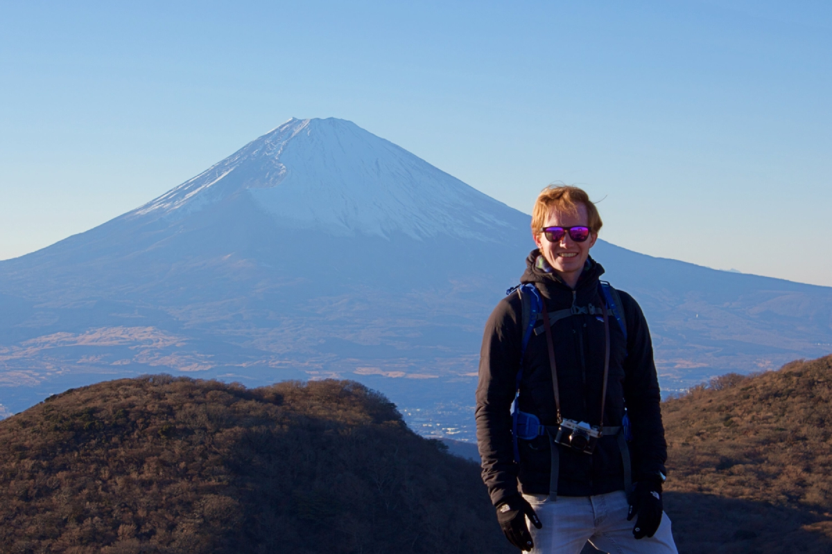 Ewan overlooking Mount Fuji